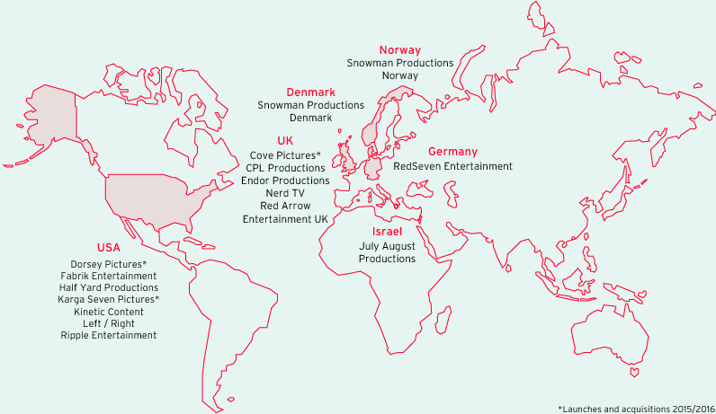 15 Production Companies across six countries (world map)